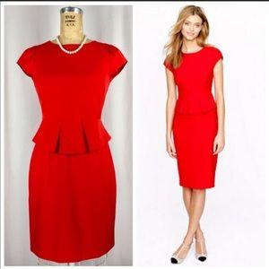 J Crew Red Peplum Dress